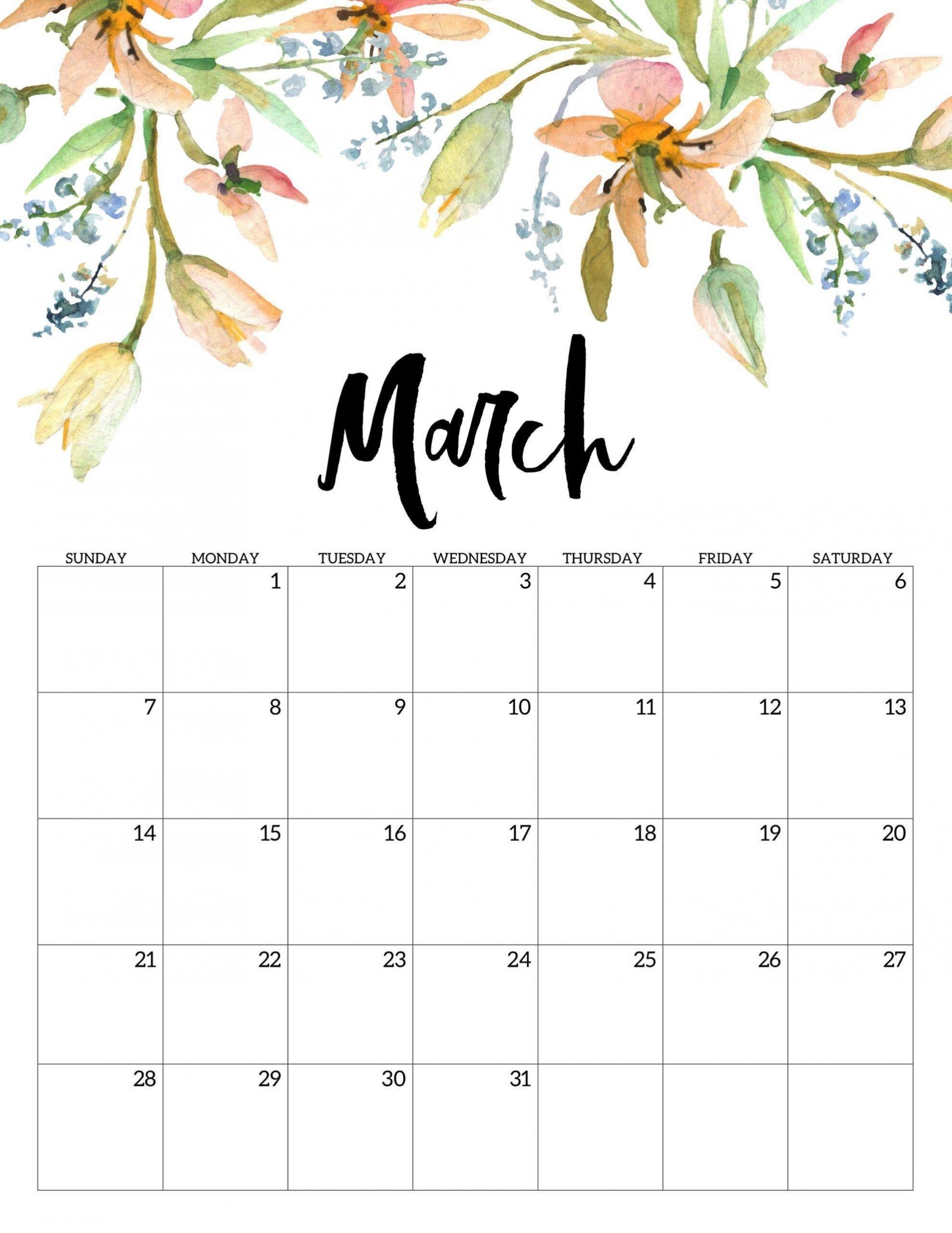 March 2021 Calendar Cute Free Printable Calendar Templates