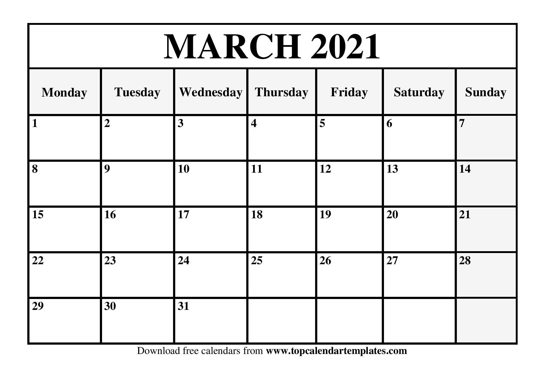 Free March 2021 Calendar Printable Blank Templates