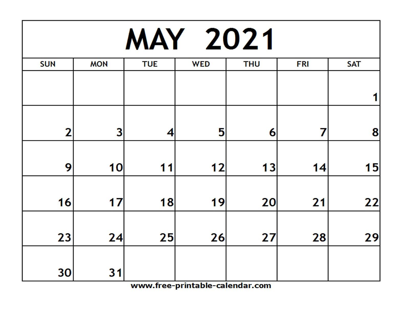 May 2021 Printable Calendar Free printable calendar