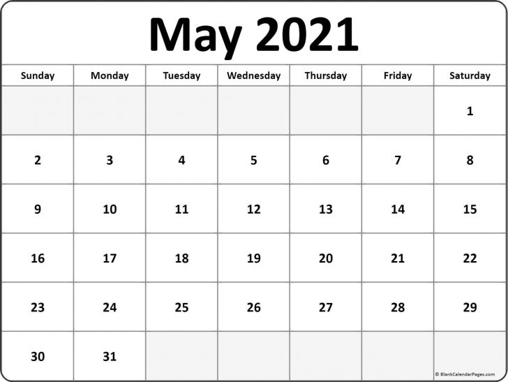 May Calendar for 2021