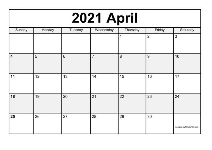 Printable 2021 April Calendar