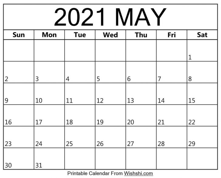 Printable Calendar for May 2021