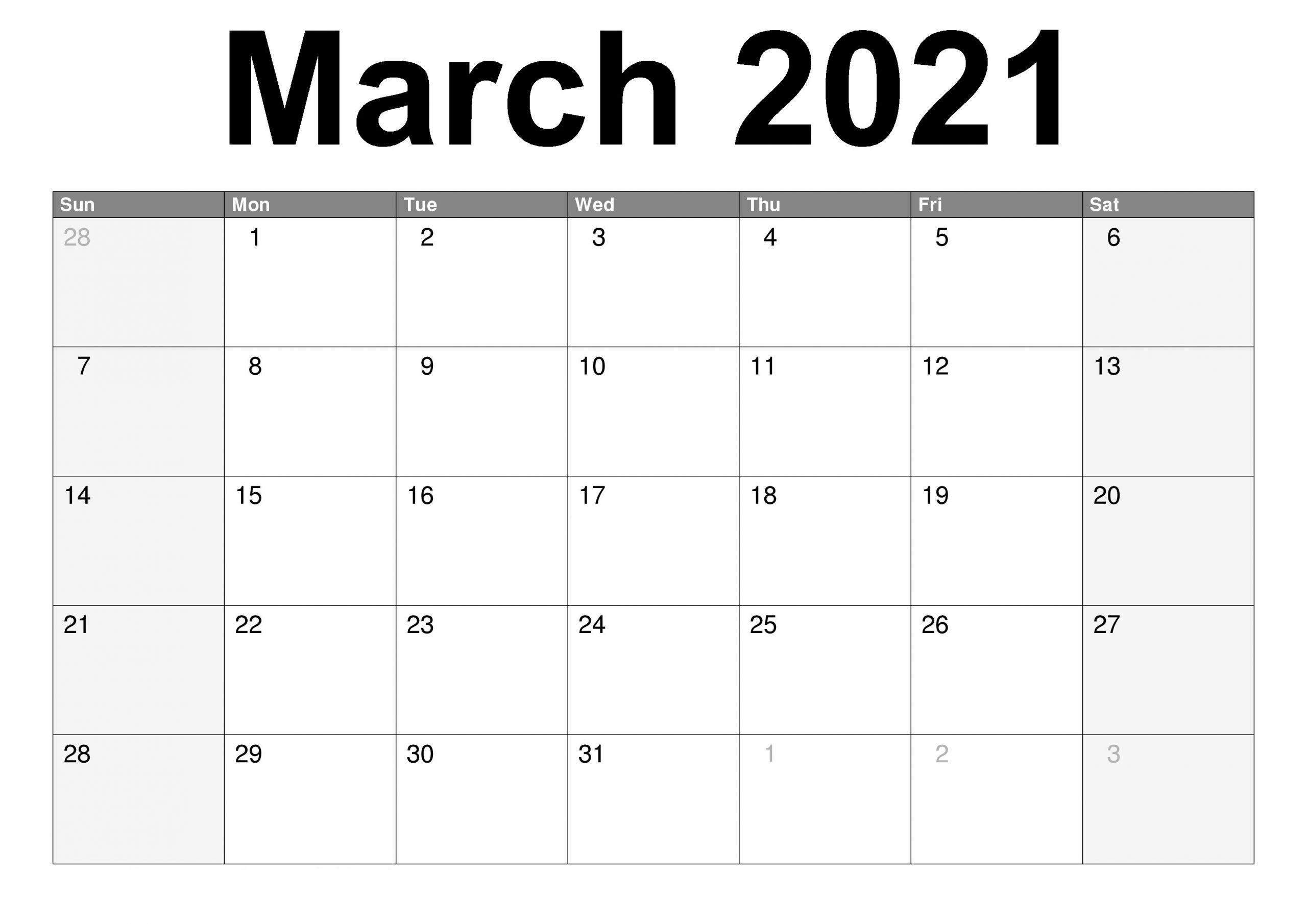 March 2021 Calendar Cute PDF Template Free Printable