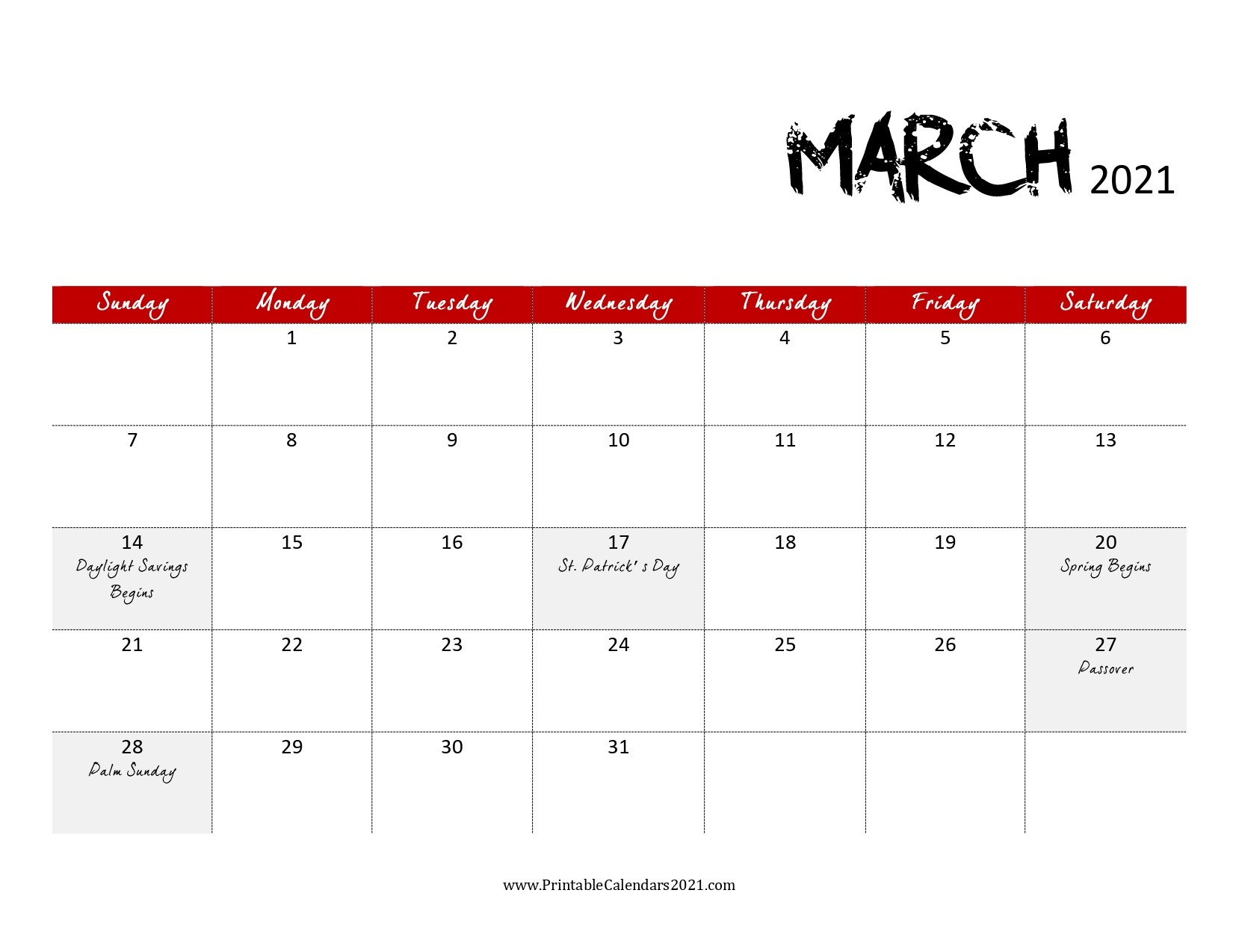 68 Free March 2021 Calendar Printable with Holidays