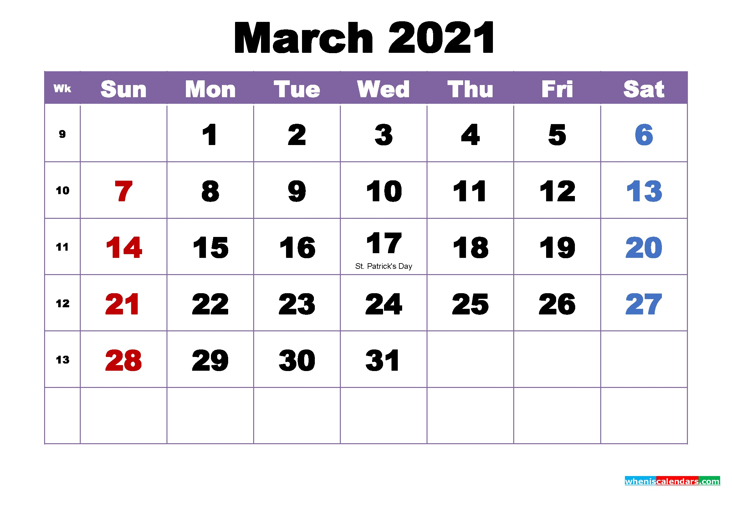 March 2021 Printable Calendar with Holidays Word PDF