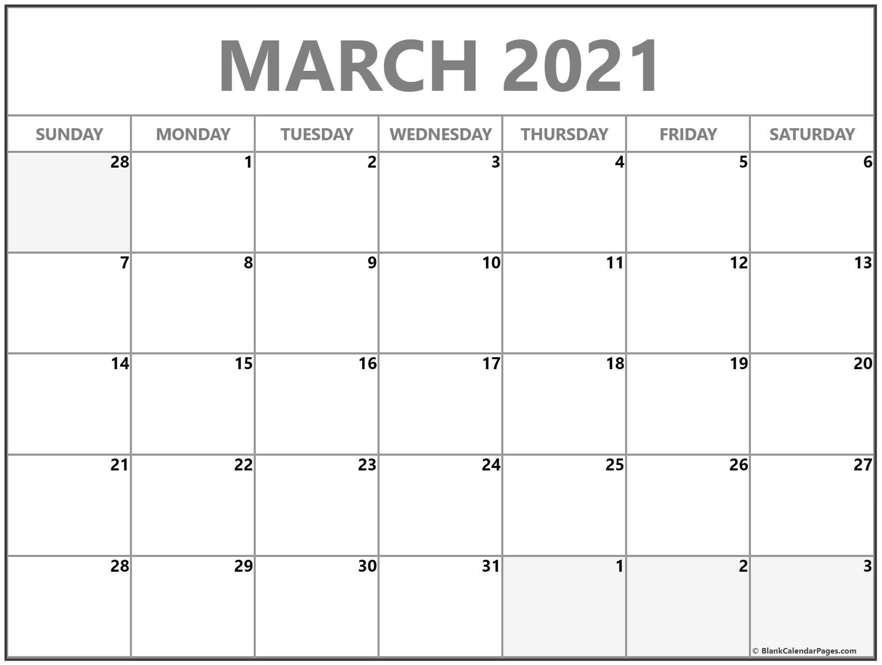 March 2019 blank calendar templates
