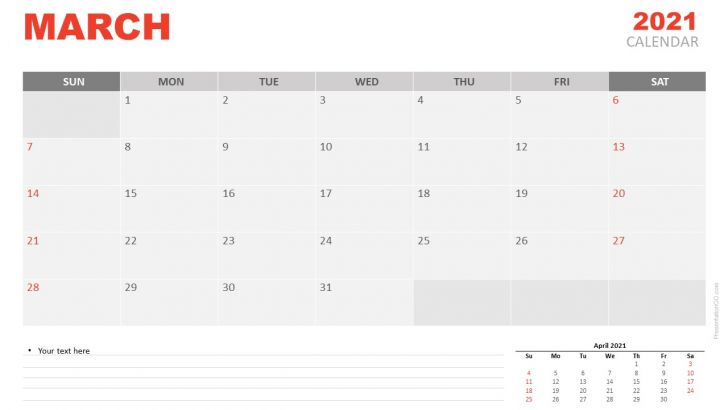 Google Calendar March 2021