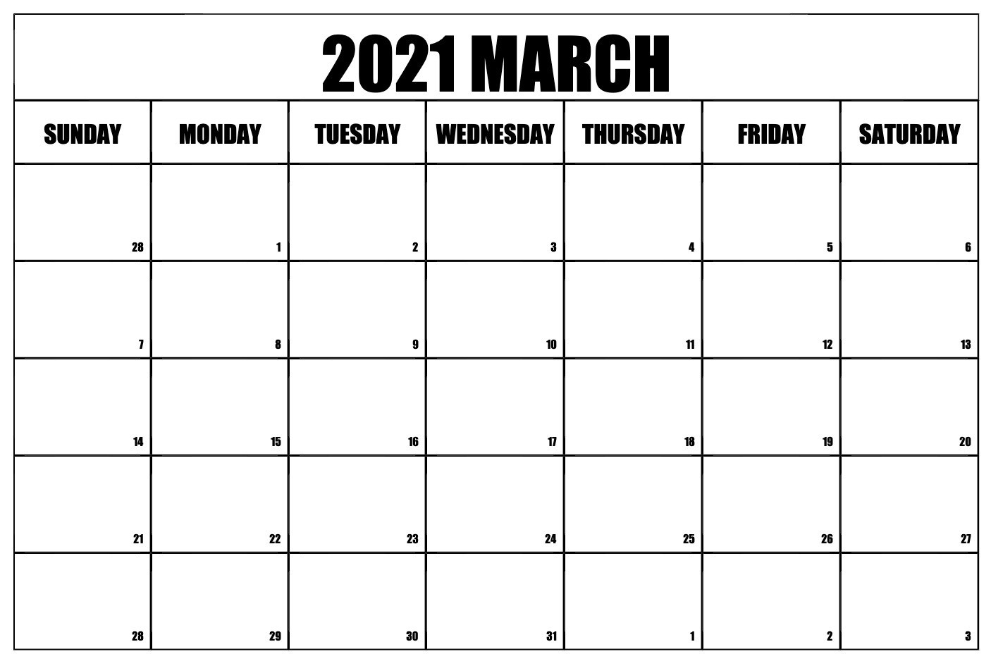 March 2021 Calendar PDF Excel Word Templates