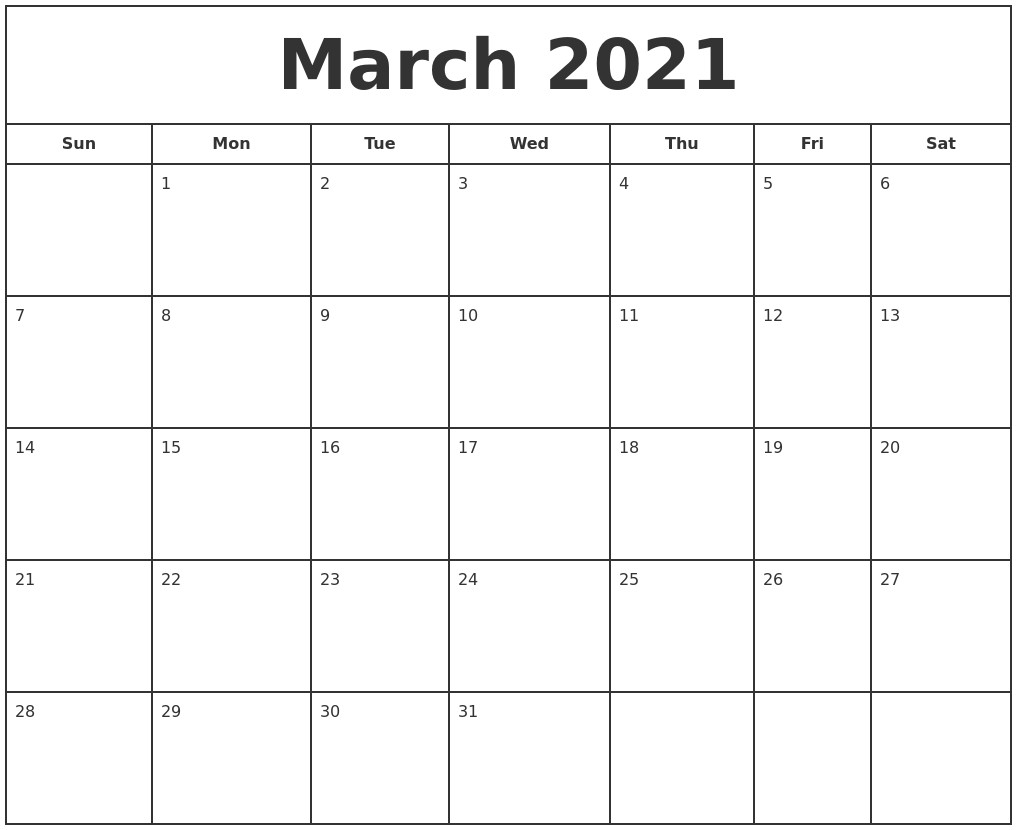 May 2021 Calendar Maker