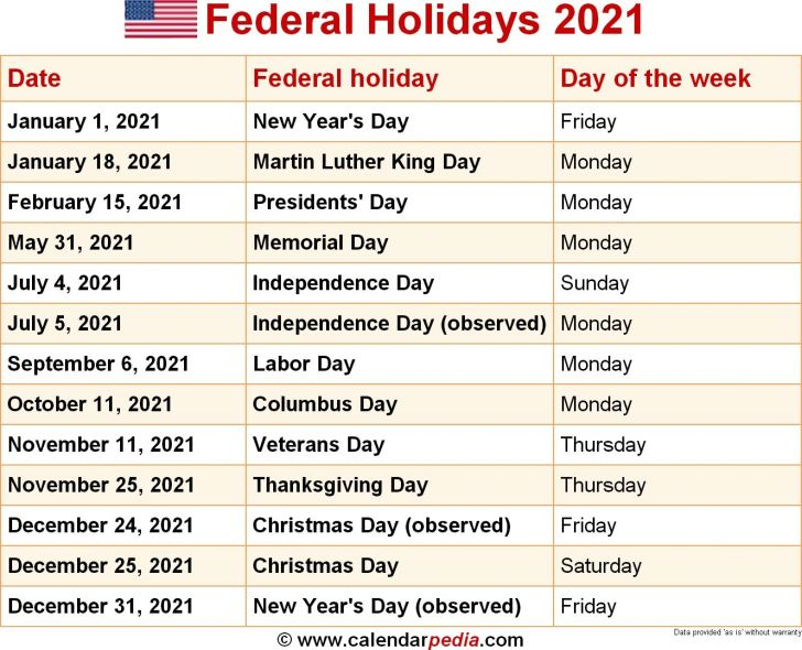 Government Holidays March 2021