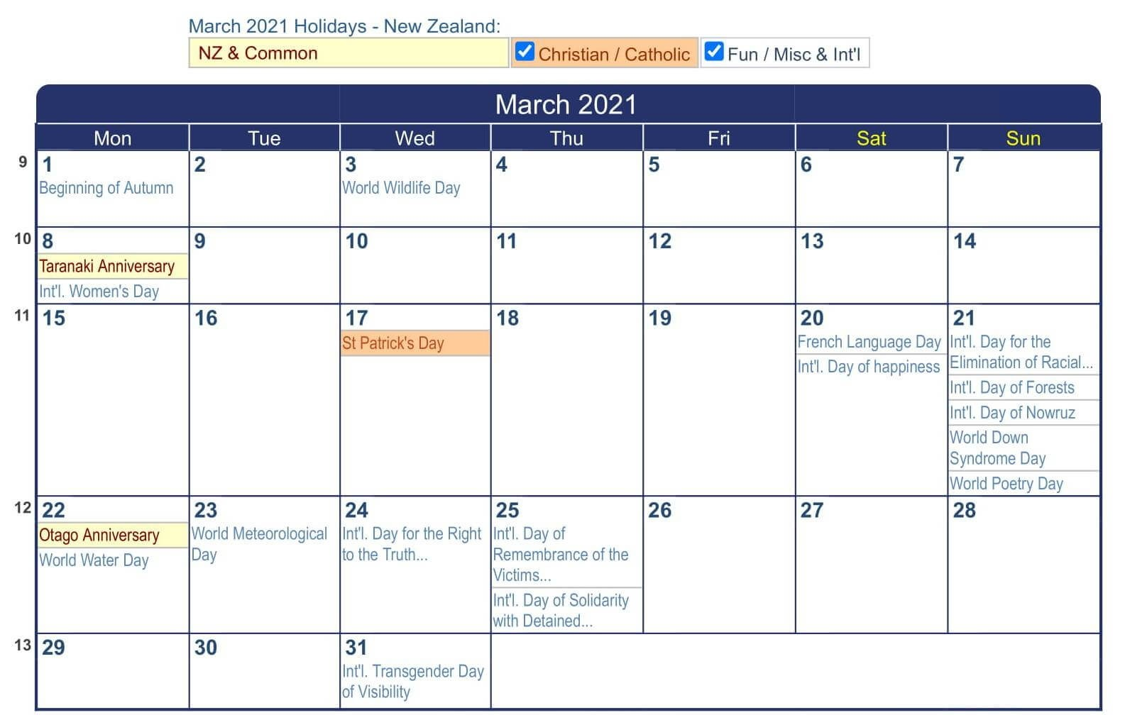 March 2021 Calendar NZ Printable with Bank & Federal