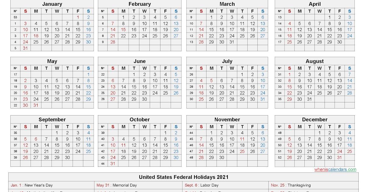 Printable 2021 Calendar With Federal Holidays