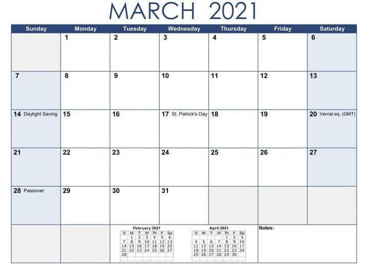 Holiday List March 2021