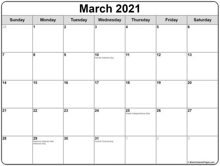 Holiday March 2021 Calendar