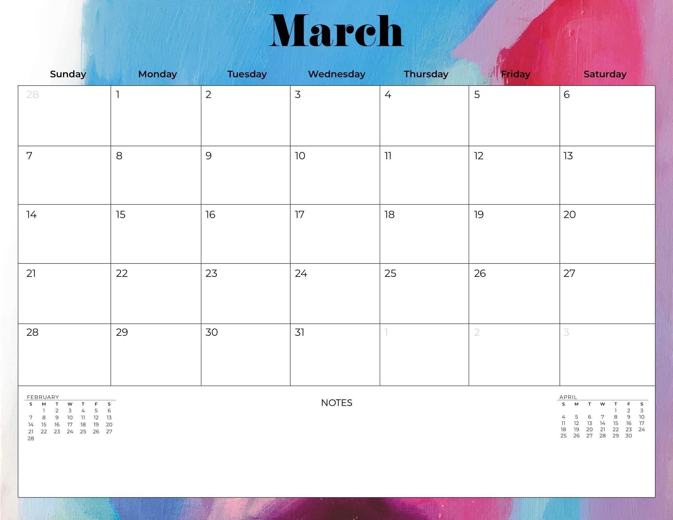 Print March 2021 Calendar UK Bank & Public Holidays Web