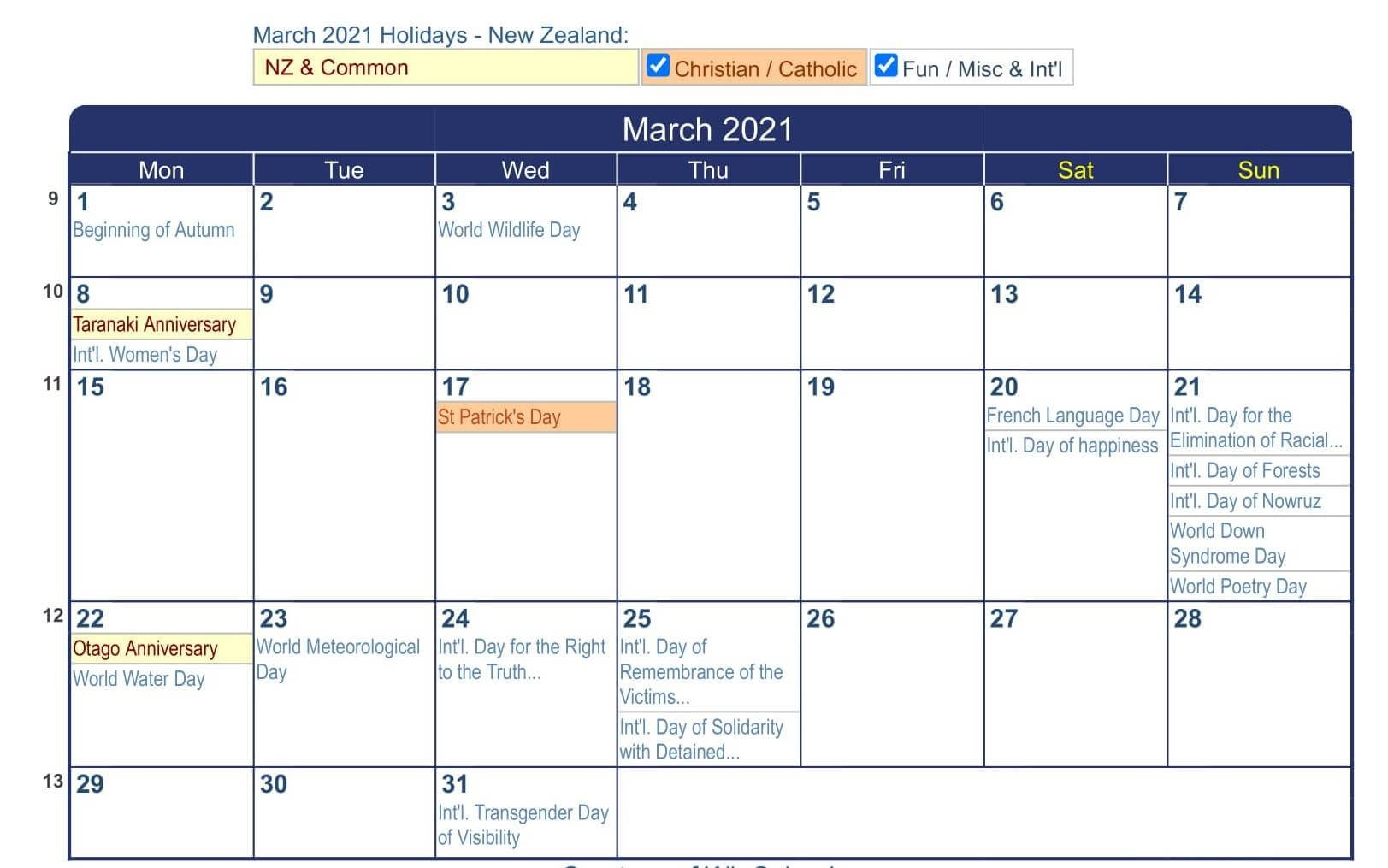 Free March 2021 Calendar Vacations List Printable Set