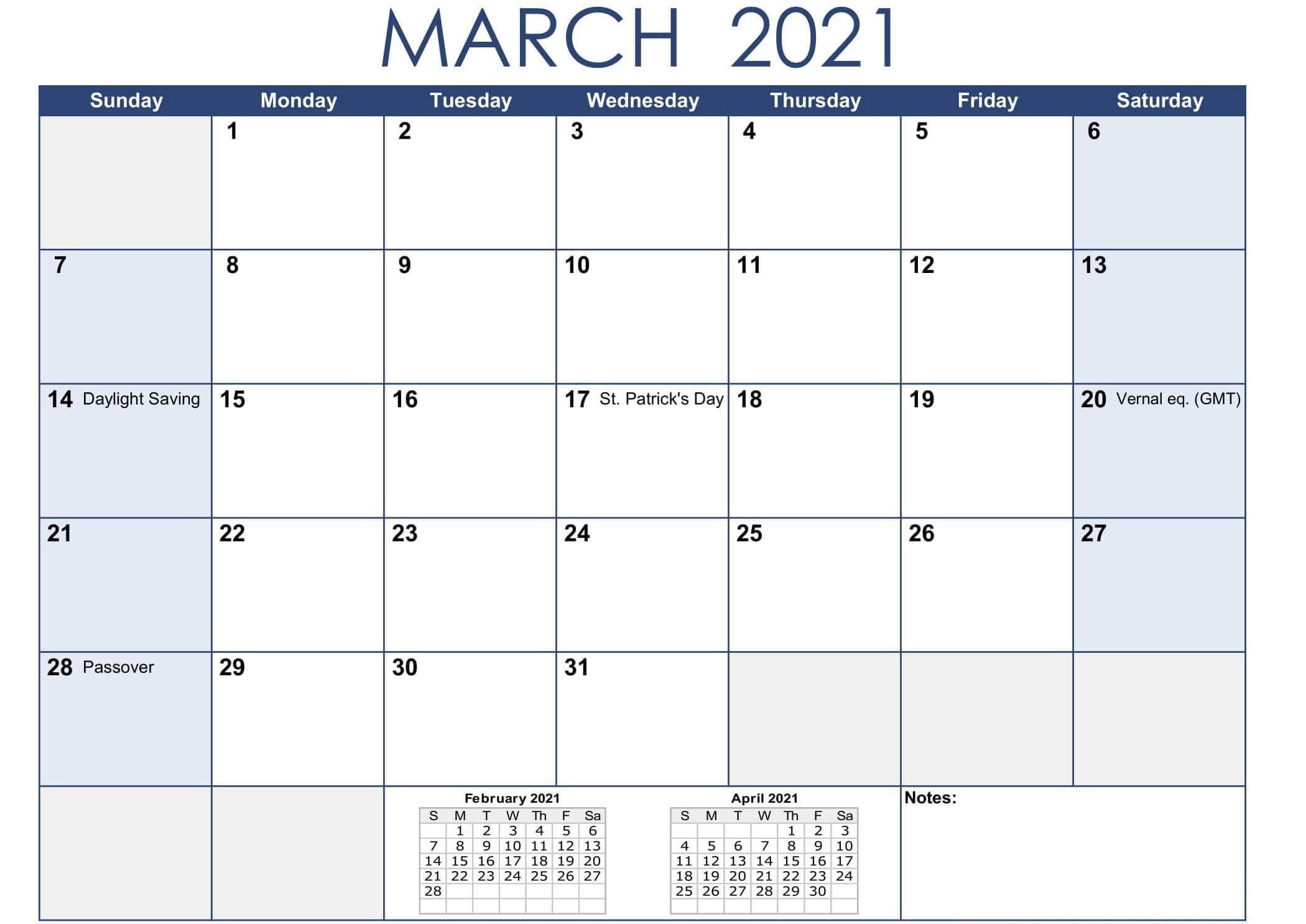 March 2021 Calendar Holidays Printable Printable fice