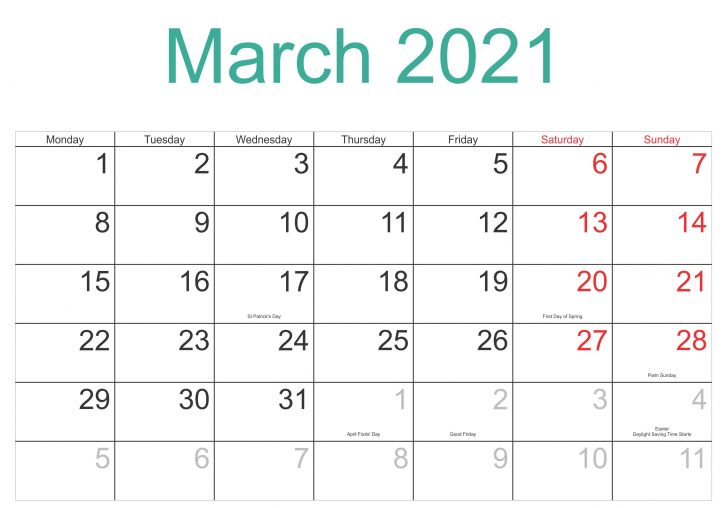 List Of Holidays In March 2021