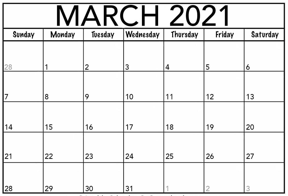 Blank March 2021 Calendar Printable Paper Sheets e