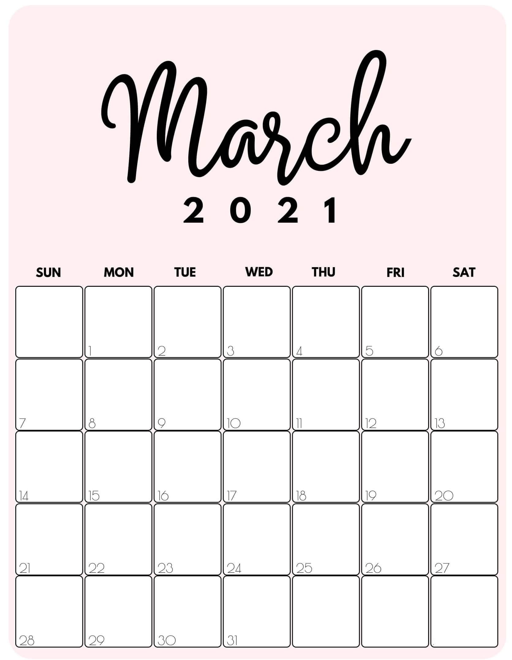 March 2021 Calendar Excel Template Printable e