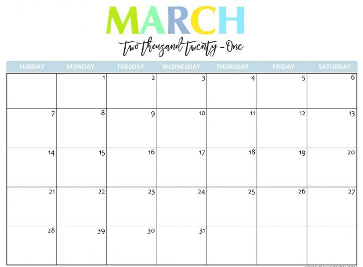 March 2021 Calendar Excel