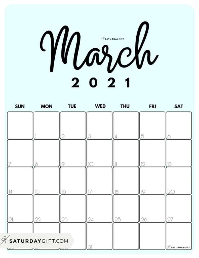 Cute & Free Printable March 2021 Calendar