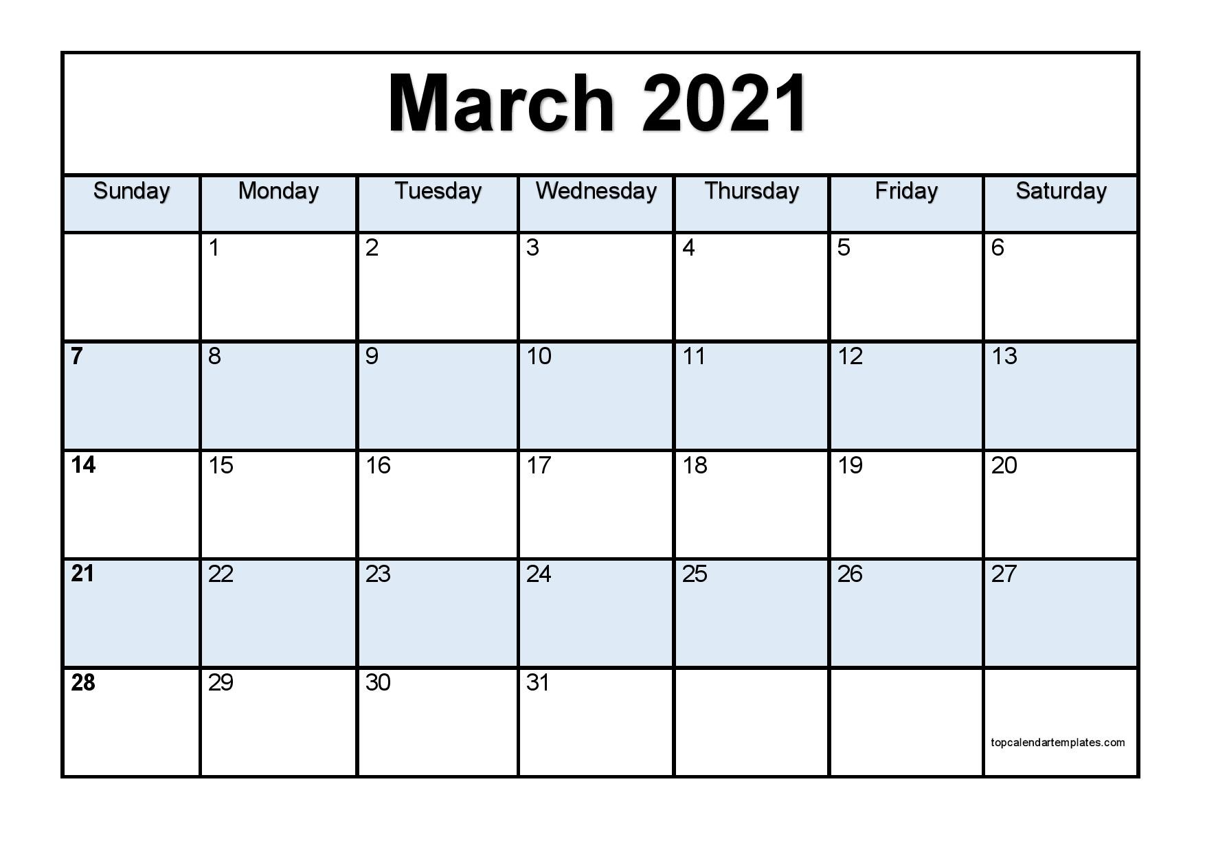 Free March 2021 Calendar Printable PDF Word Templates