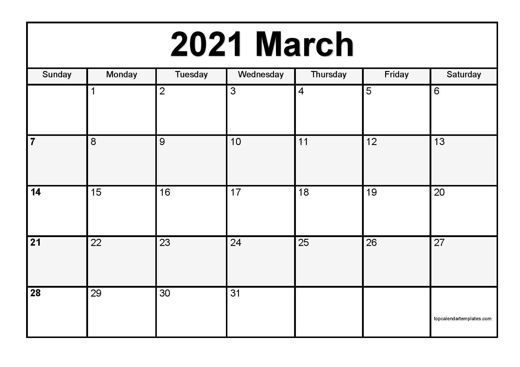 Free March 2021 Printable Calendar in Editable Format