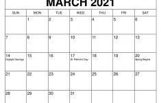 Monthly Calendar March 2021 March 2021 Calendar Free Word Template Printable Blank