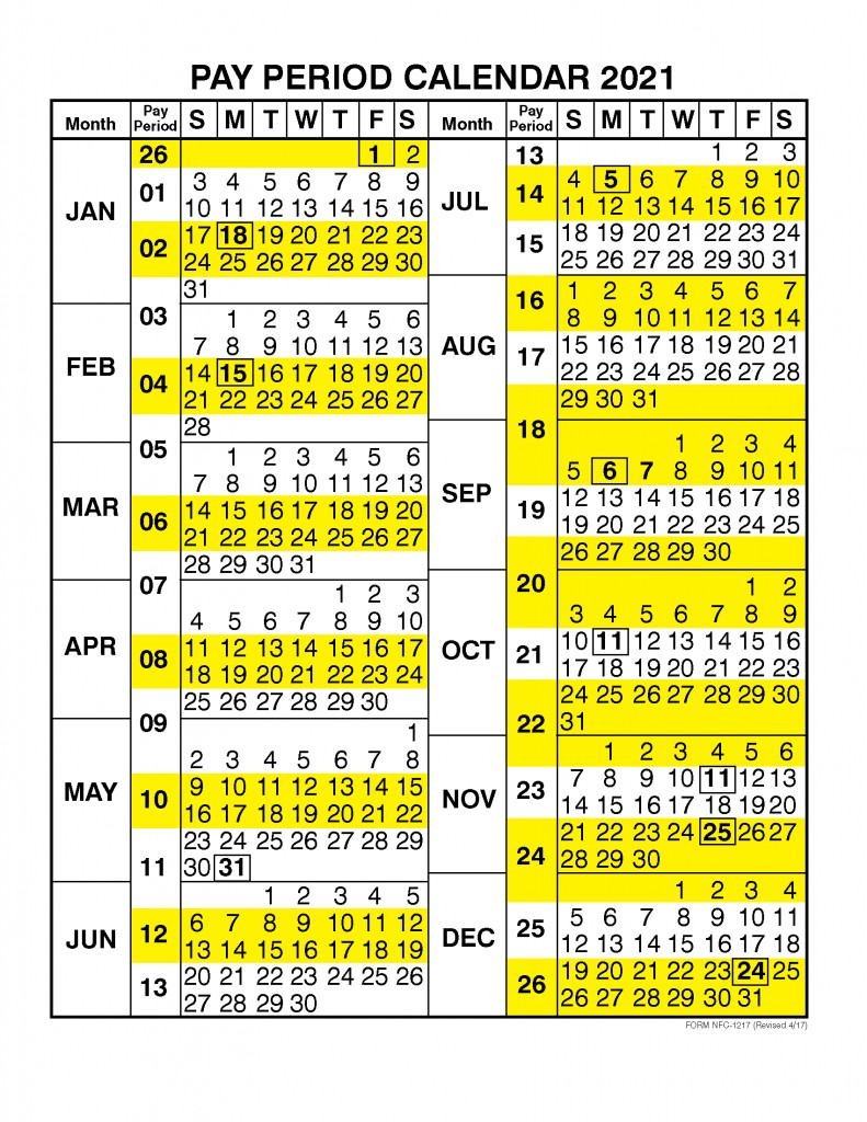 Pay Period Calendar 2021 by Calendar Year – Free Printable