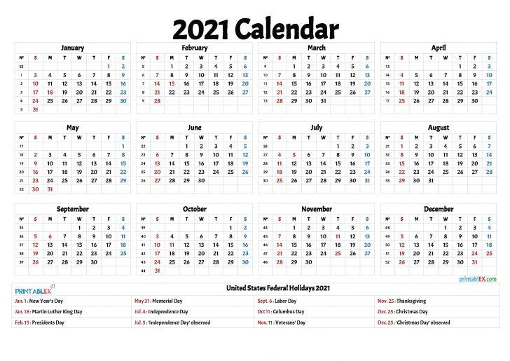2021 Free Printable Calendar with Holidays