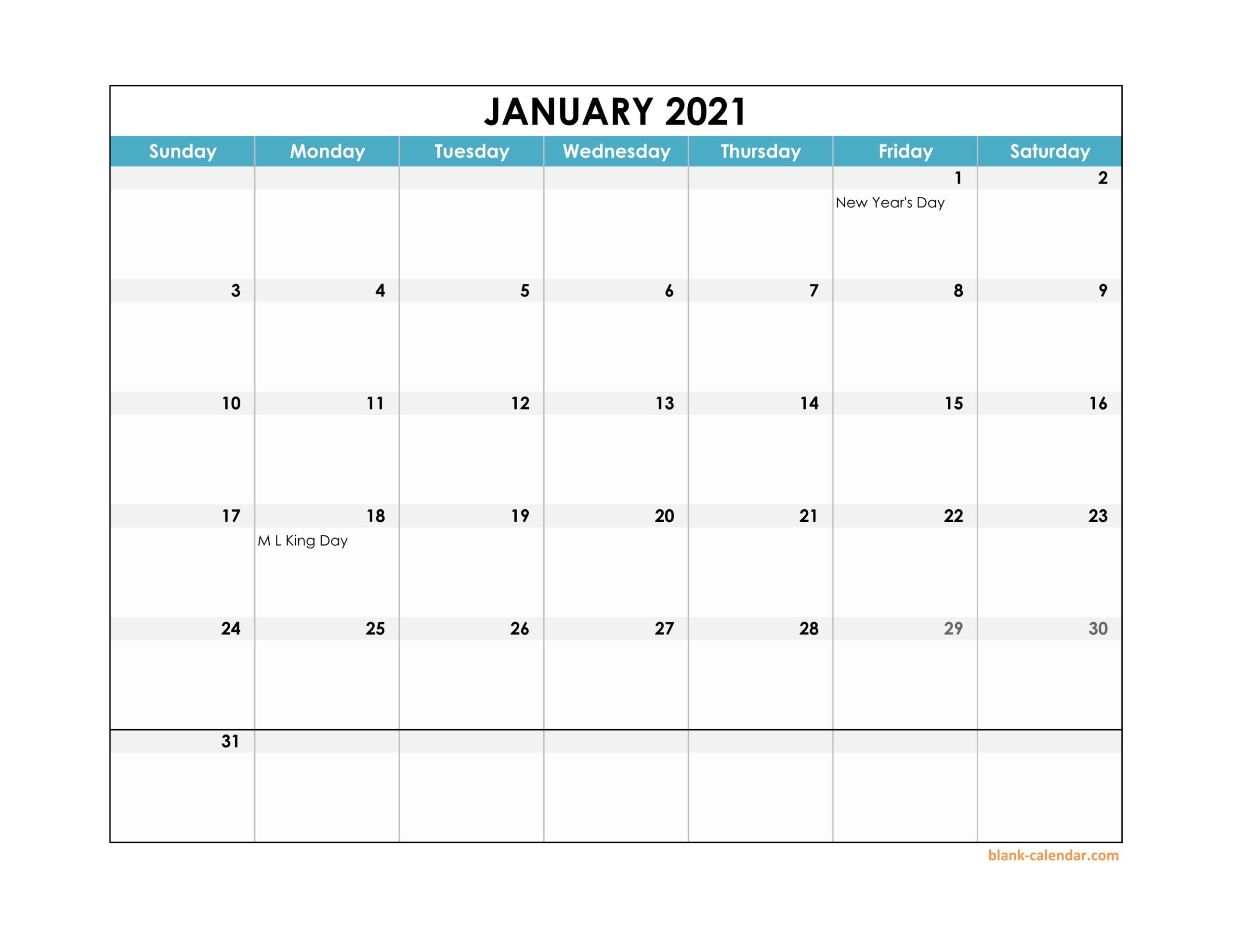 2021 Monthly Landscape Printable Calendar