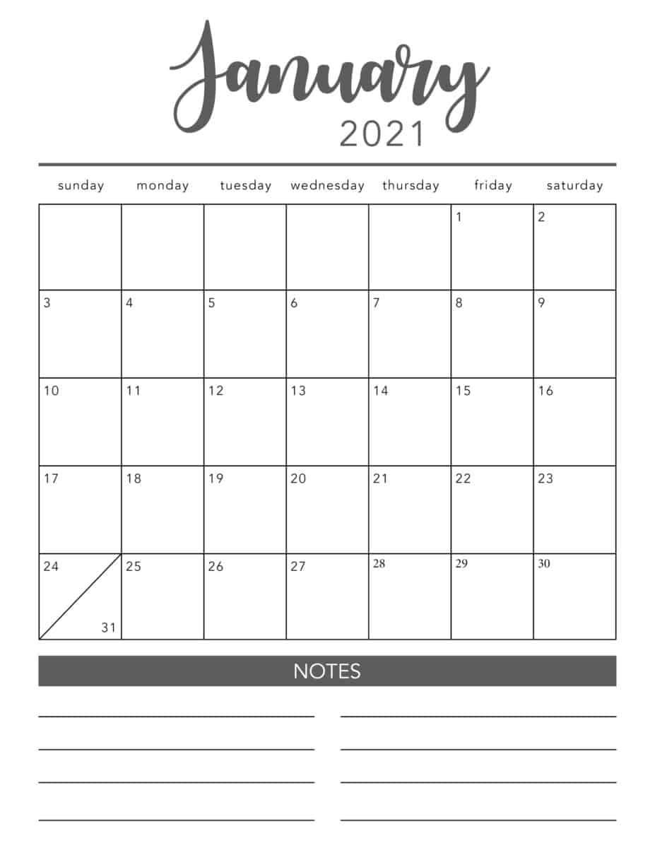 2021 Printable Calendar Pages