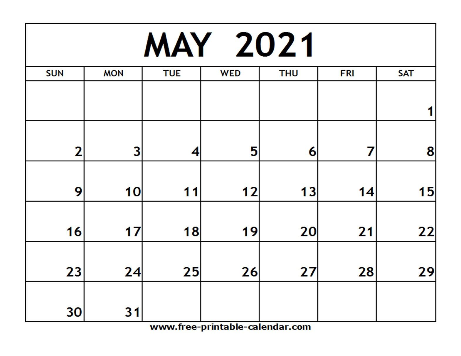 Calendar Template April May 2021