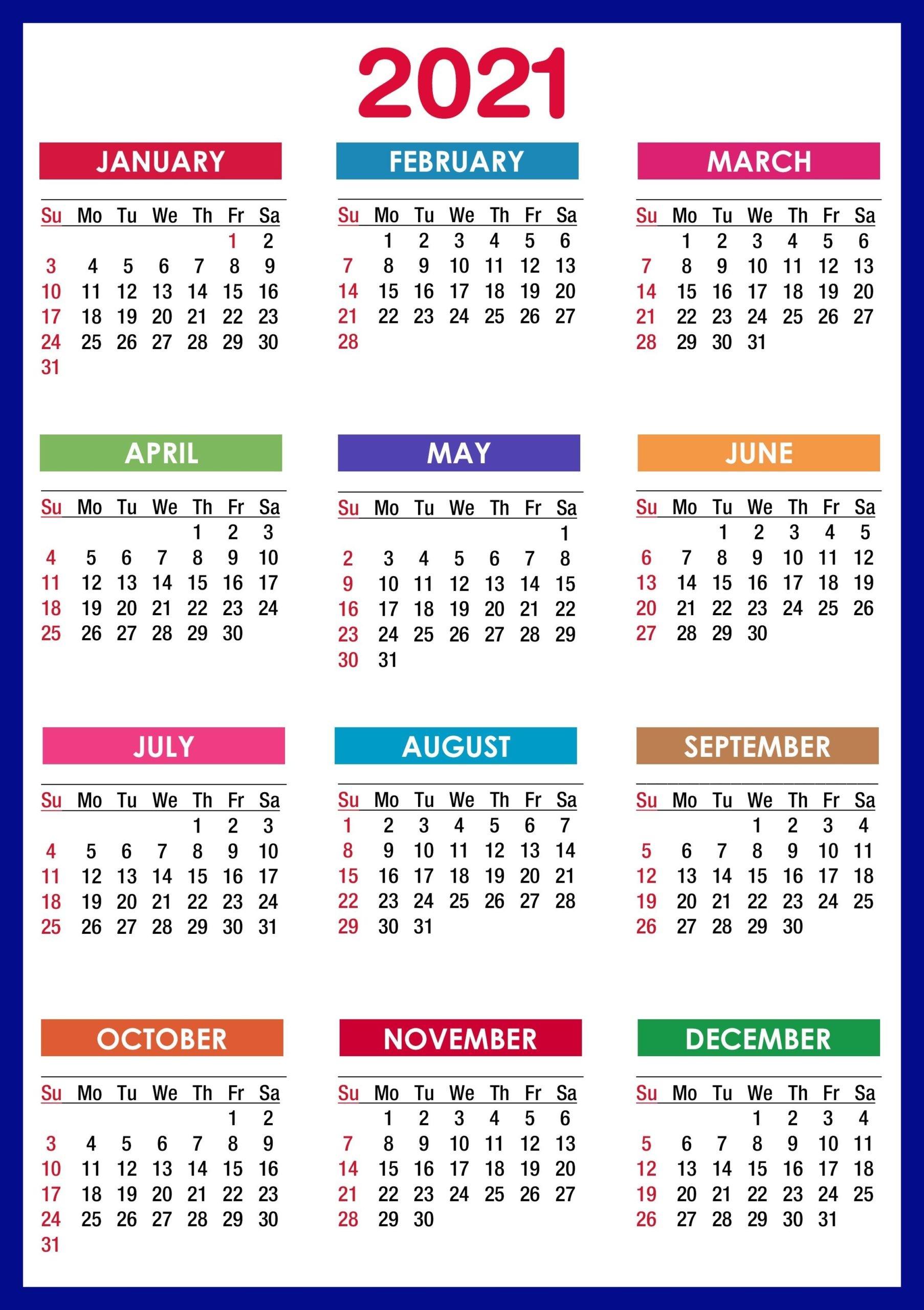 2021 Calendar Printable 12 Months All in e