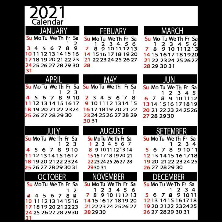2021 Year Calendar Printable Free