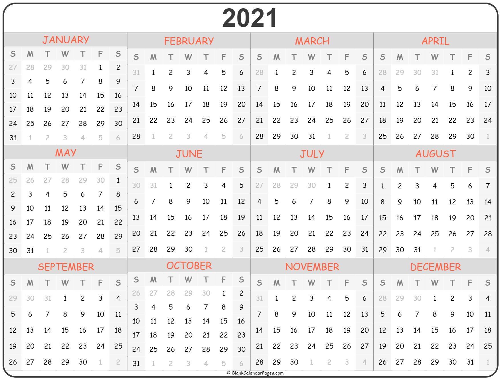 2021 year calendar