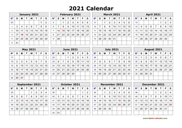 Free Printable Calendar 2021 Yearly
