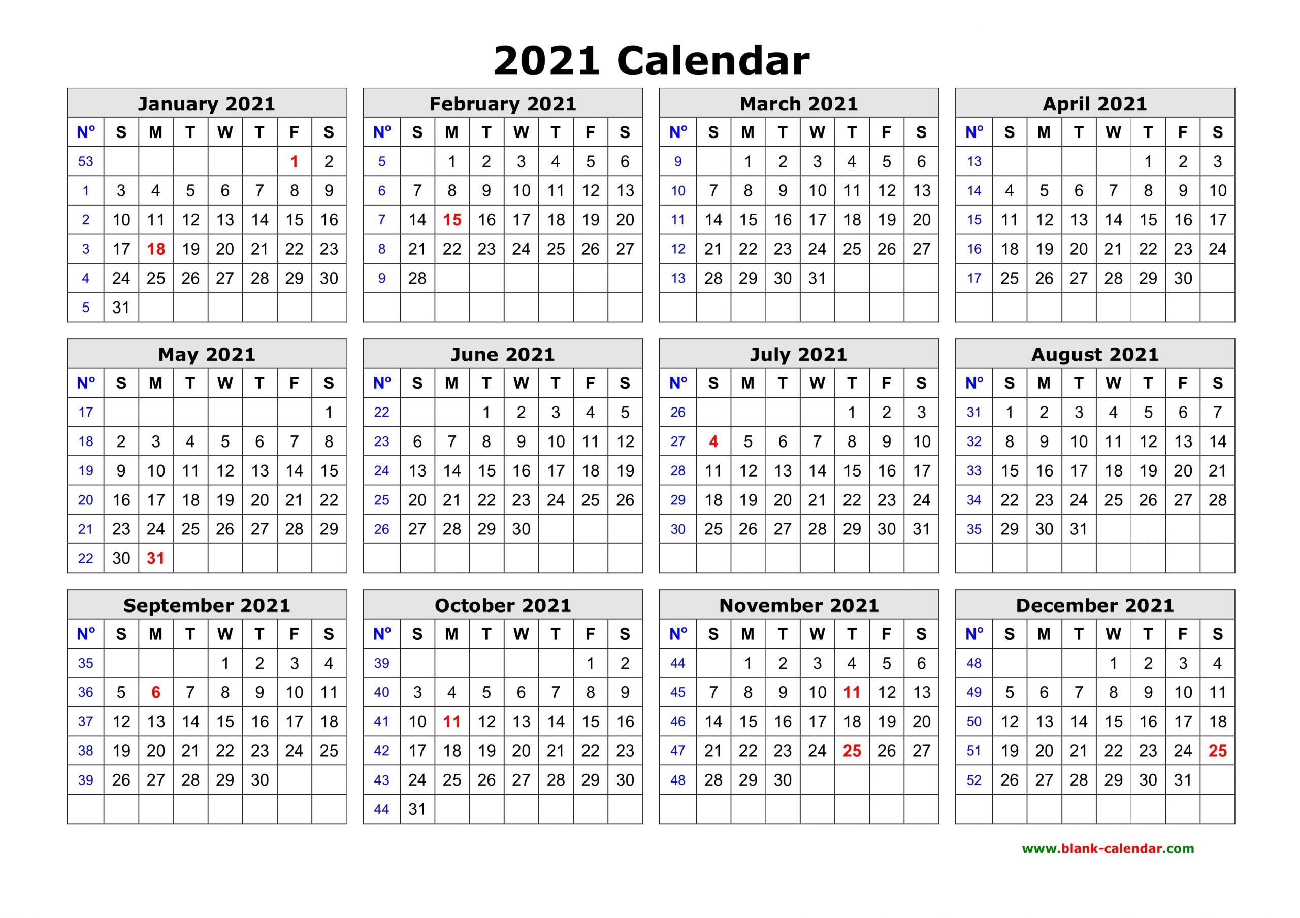 Free Download Printable Calendar 2021 in one page clean