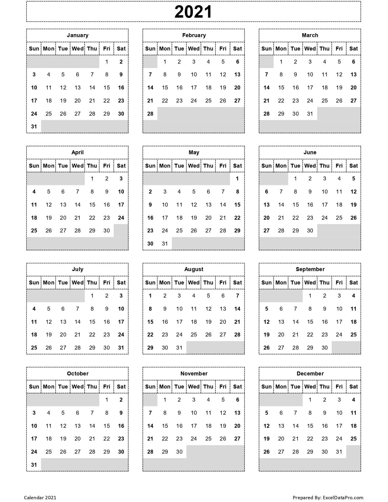 Calendar 2021 Excel Templates Printable PDFs &