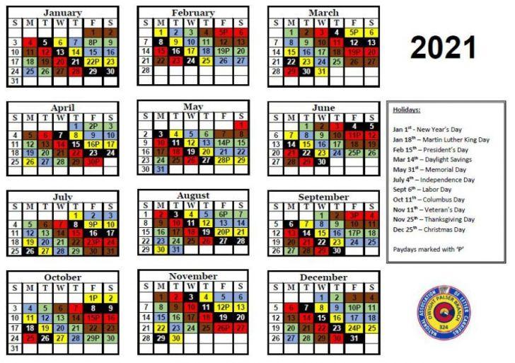Nalc Color Coded Calendar 2021
