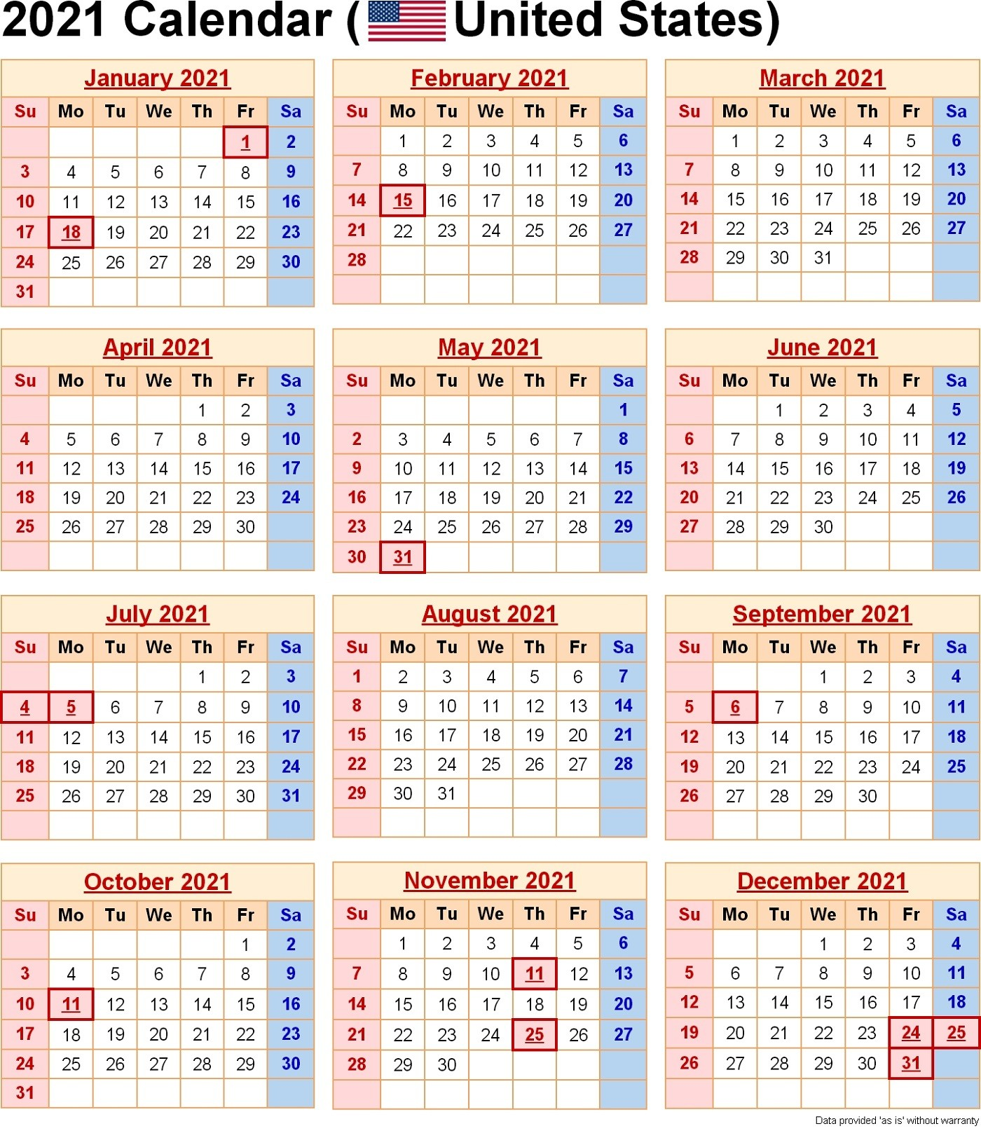 2021 Yearly Calendar with Holidays Templates