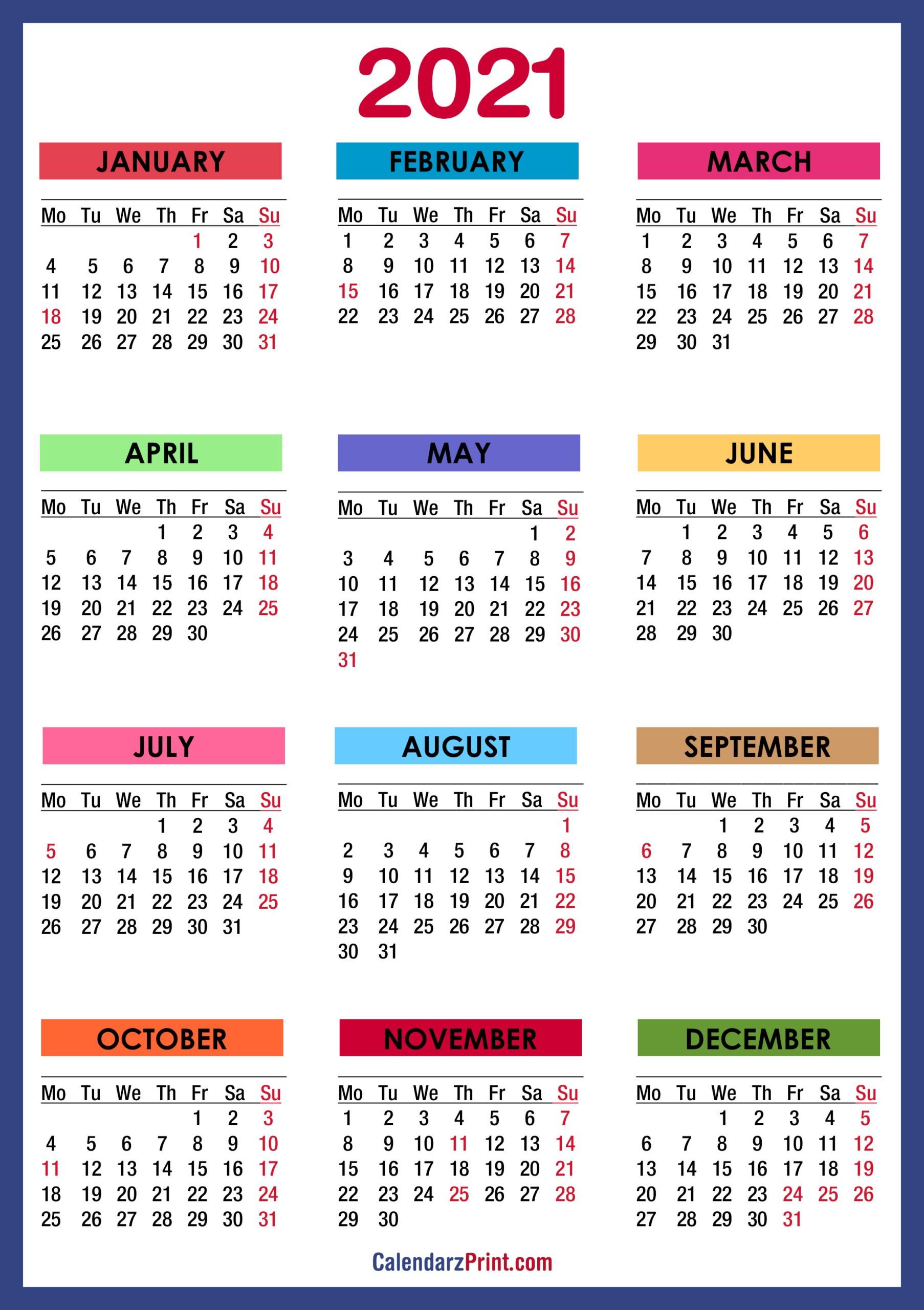 2021 Calendar Printable With Holidays Usa