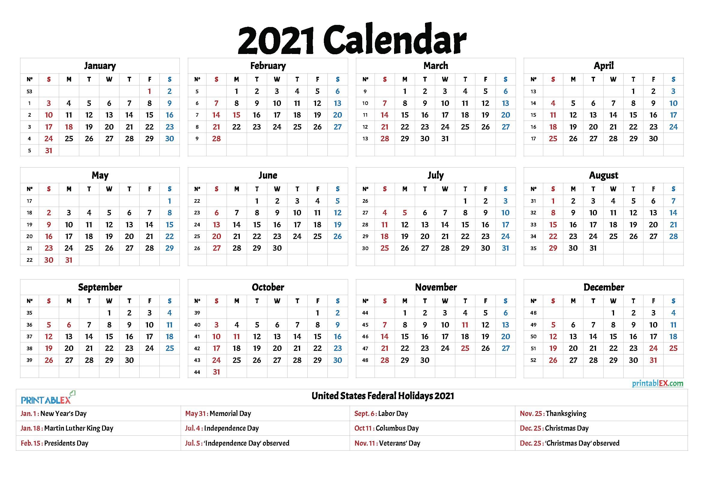 2021 Printable With Holidays
