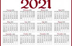 Printable 2021 Yearly Calendar with Holidays Free 2021 Calendar with Holidays