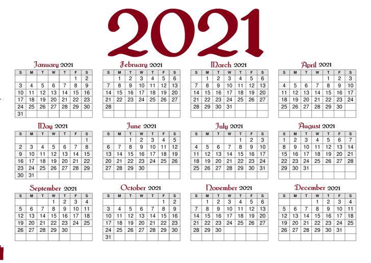 Printable Calendar with Holidays 2021