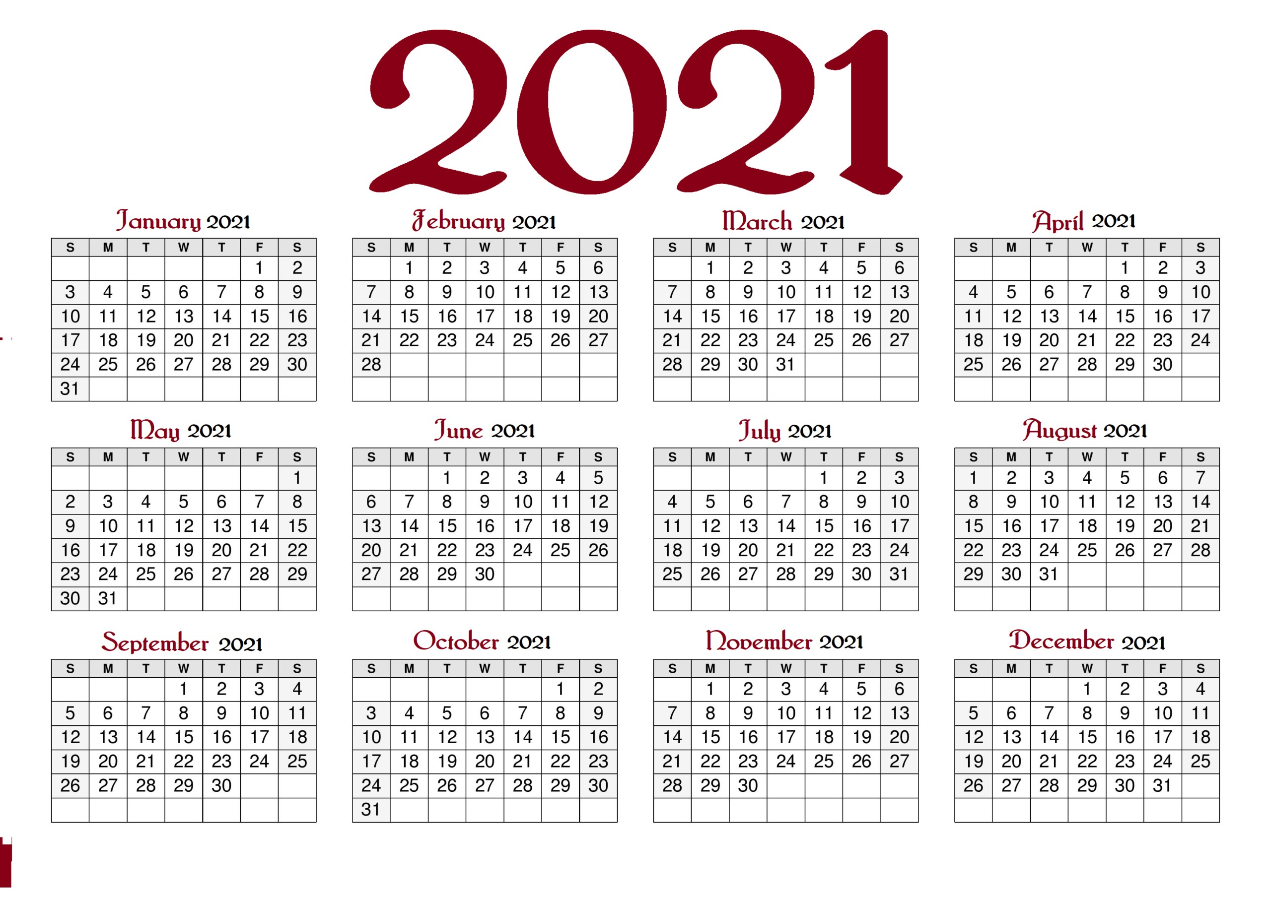 2021 Calendar With Holidays Printable With PDF