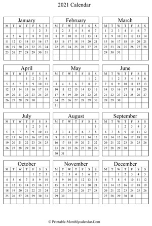 Printfree Calendar 2021 with Date Boxes