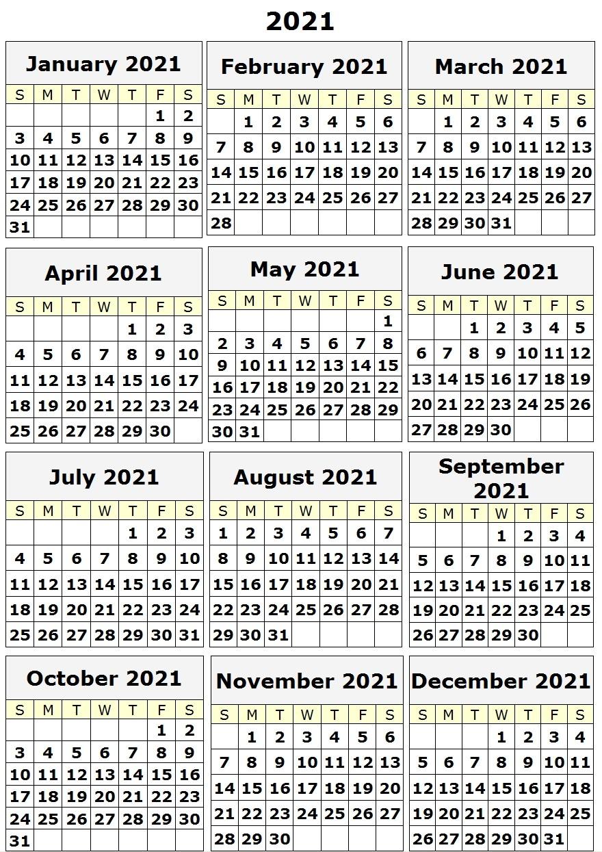 2021 Yearly Printable Calendar e Page 12 month calendar