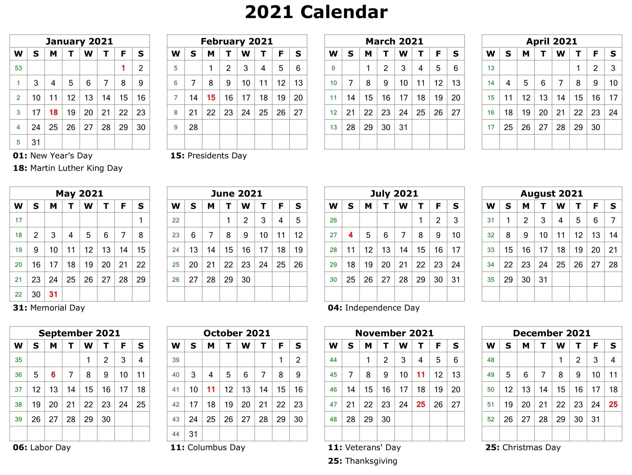 Free Printable Calendar Year 2021